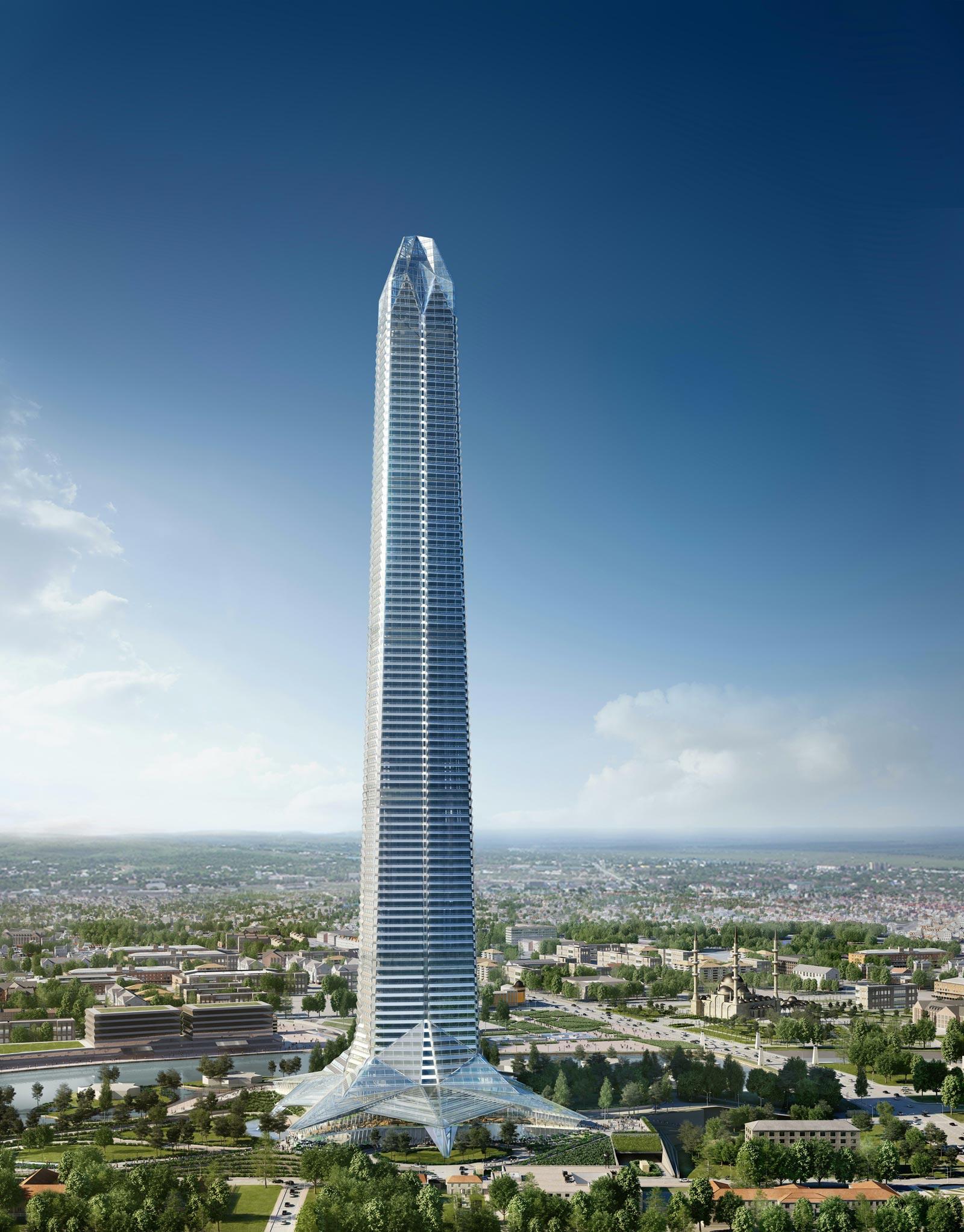 Визуализация: башня «Ахмат-Тауэр» в Грозном днем