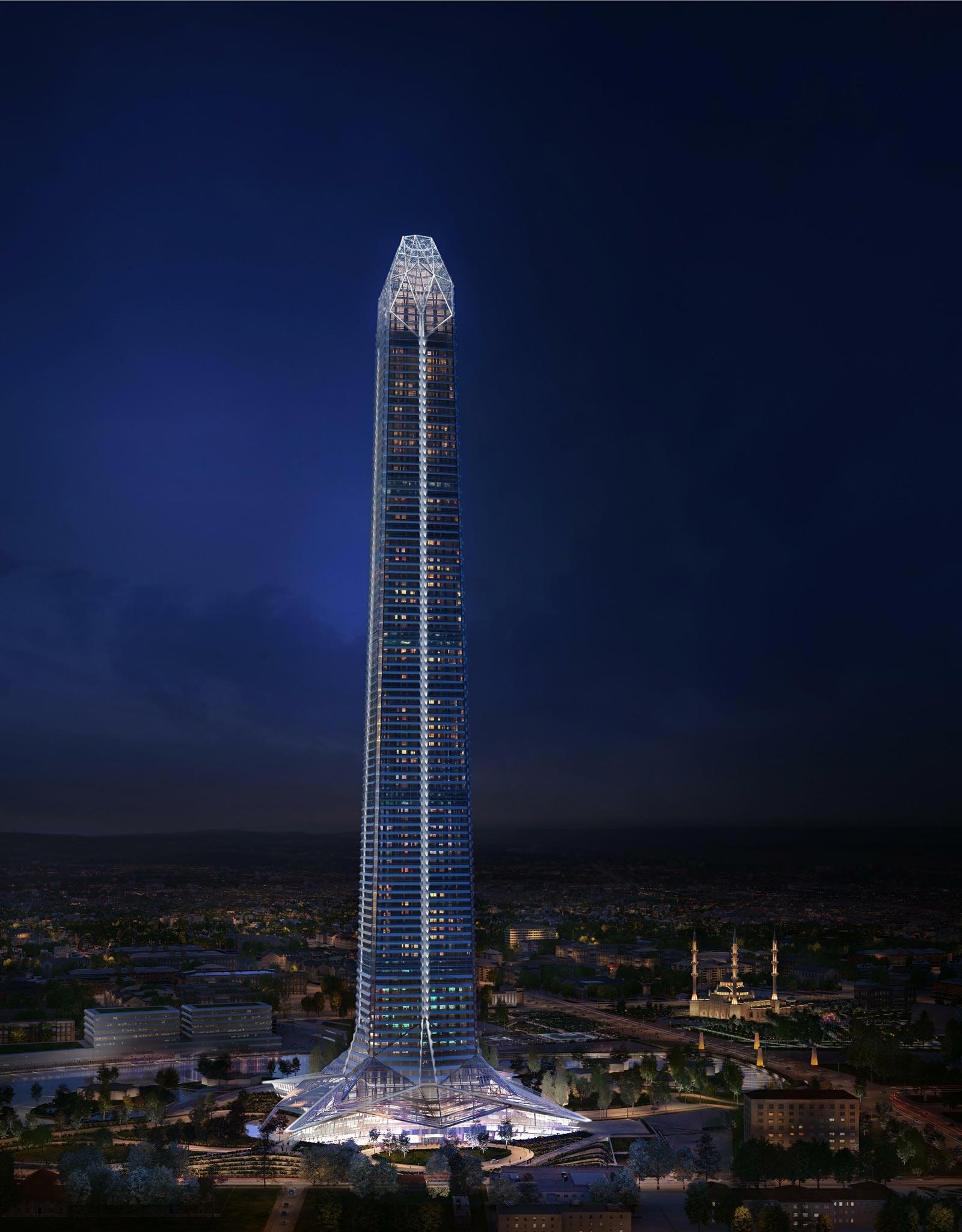 Визуализация: башня «Ахмат-Тауэр» в Грозном ночью