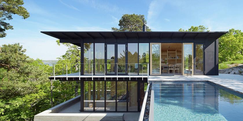 Небольшой дом на краю обрыва в Швеции | фото, проект, инфо