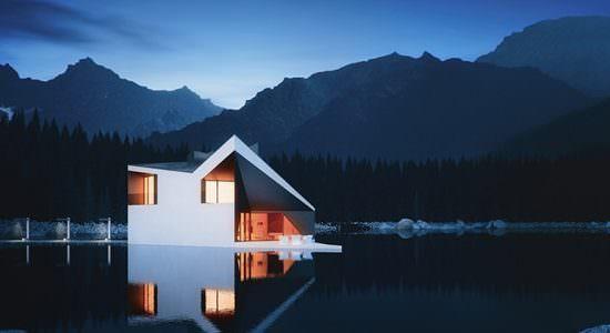 Минималистический дом на берегу озера от 81.WAW.PL