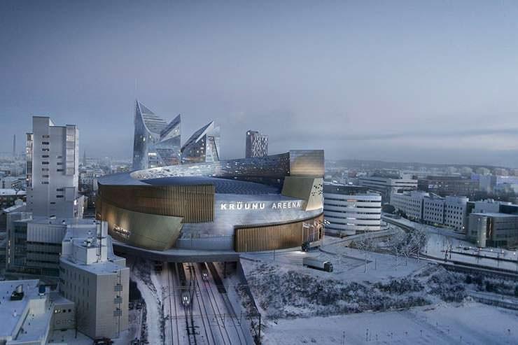 Хоккейная арена над железнодорожной станцией города Тампера