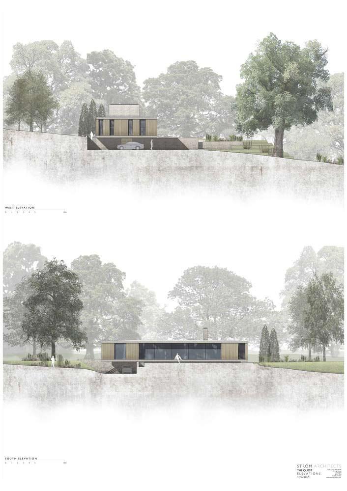 Проект дома с панорамными окнами и террасой