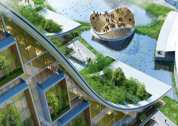 Эко-район с озером от Винсента Каллебо в центре Брюсселя