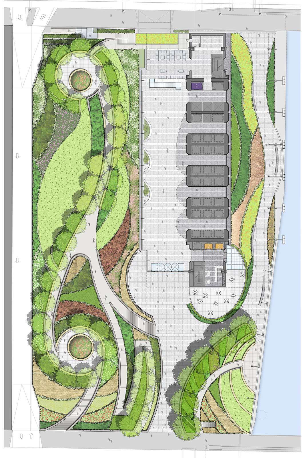 План небоскреба с парком и набережной от Goettsch Partners