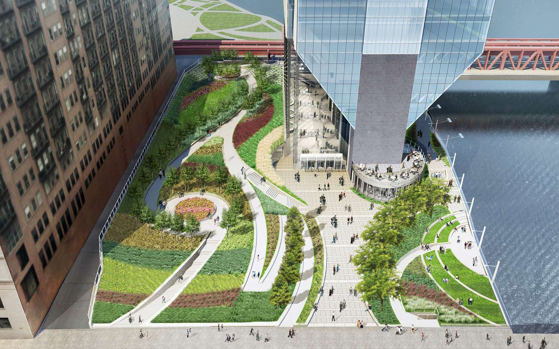 Сквер у подножия небоскреба 150 North Riverside в Чикаго