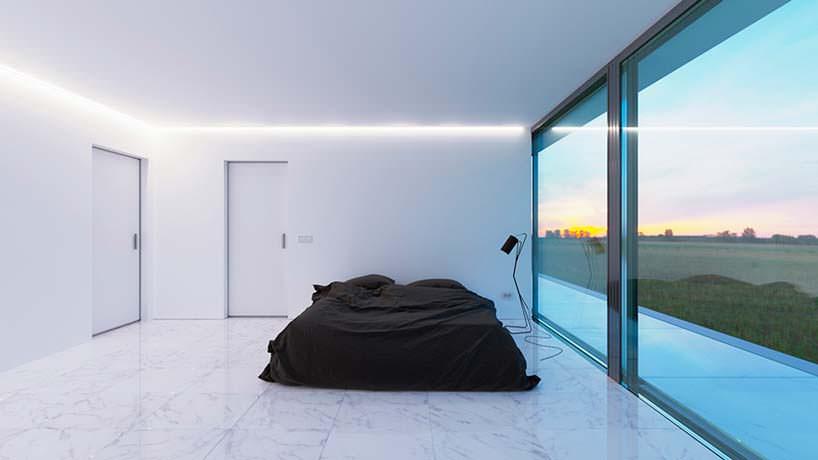 Интерьер спальни в белых тонах. Дизайн Nravil