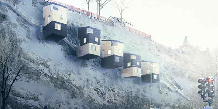 Manofactory предложила строить дома-скворечники на скалах