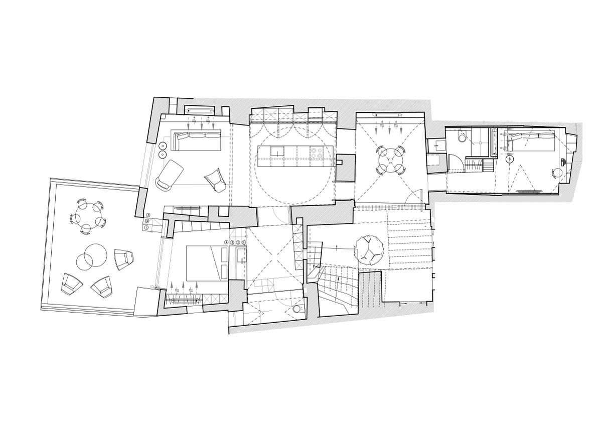 Планировка старой квартиры-пещеры в Израиле