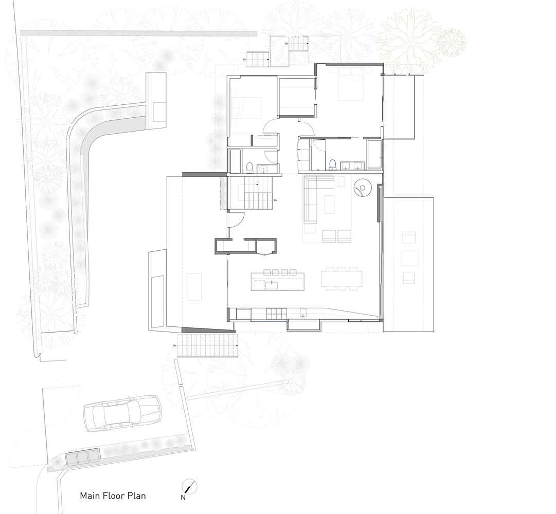 План этажей панорамного дома в Калифорнии