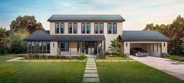 Дом с солнечной кровлей Tesla Solar Roof