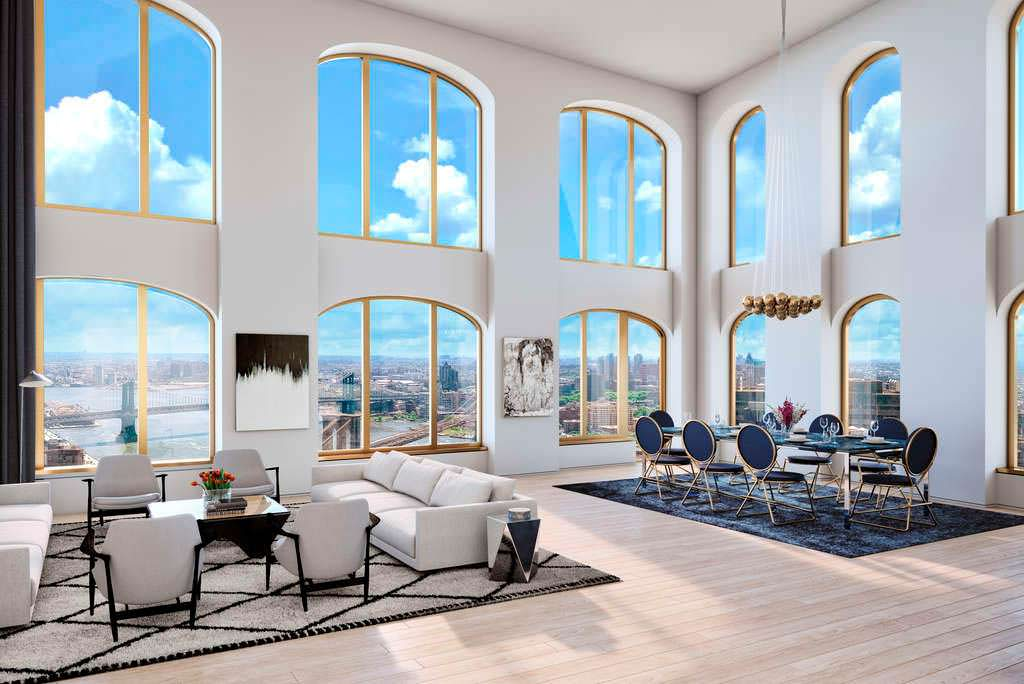 Дизайн гостиной в небоскребе Wall Street Tower. 2017 год