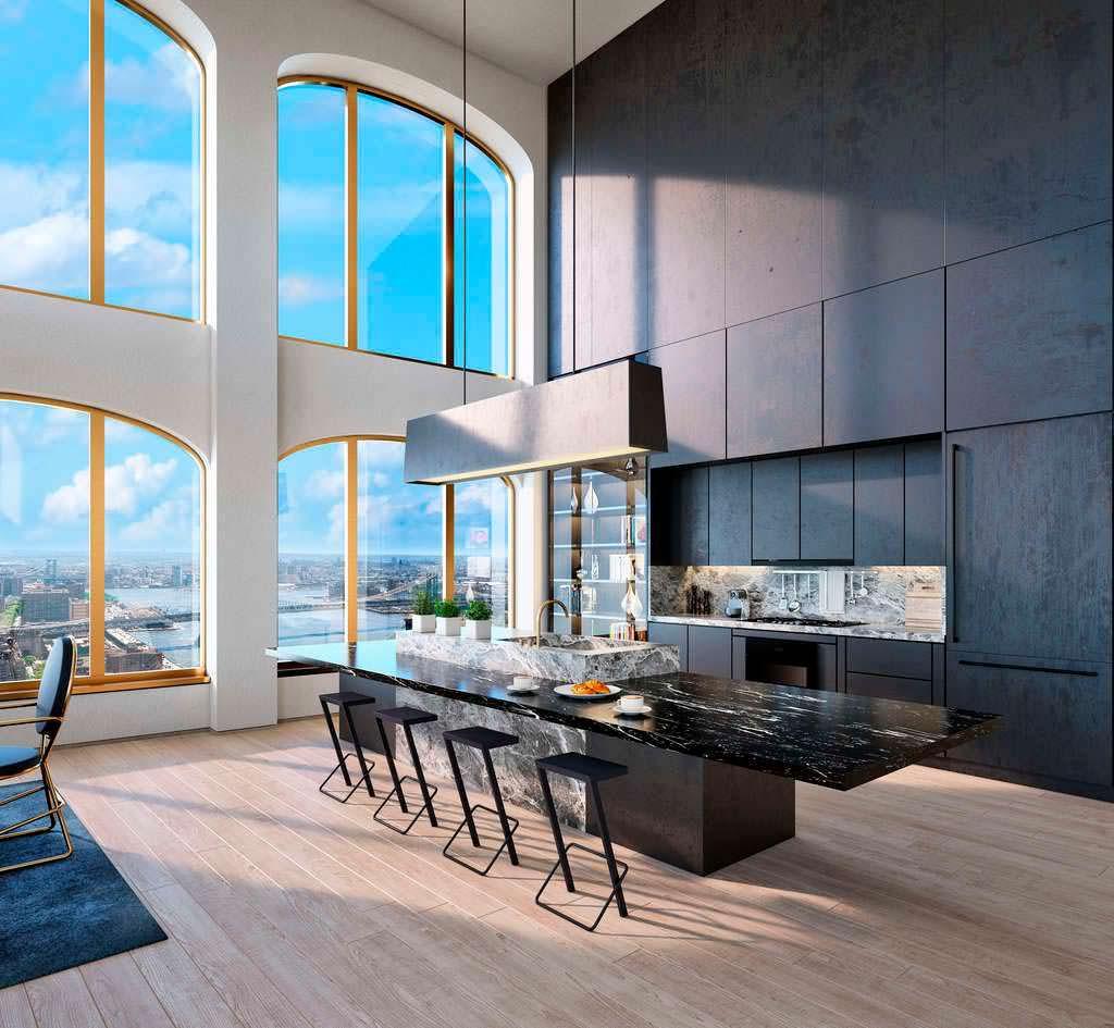 Элитный дизайн кухни в небоскребе Wall Street Tower