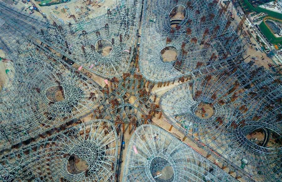 Структурный скелет аэропорта в Пекине от Zaha Hadid Architects