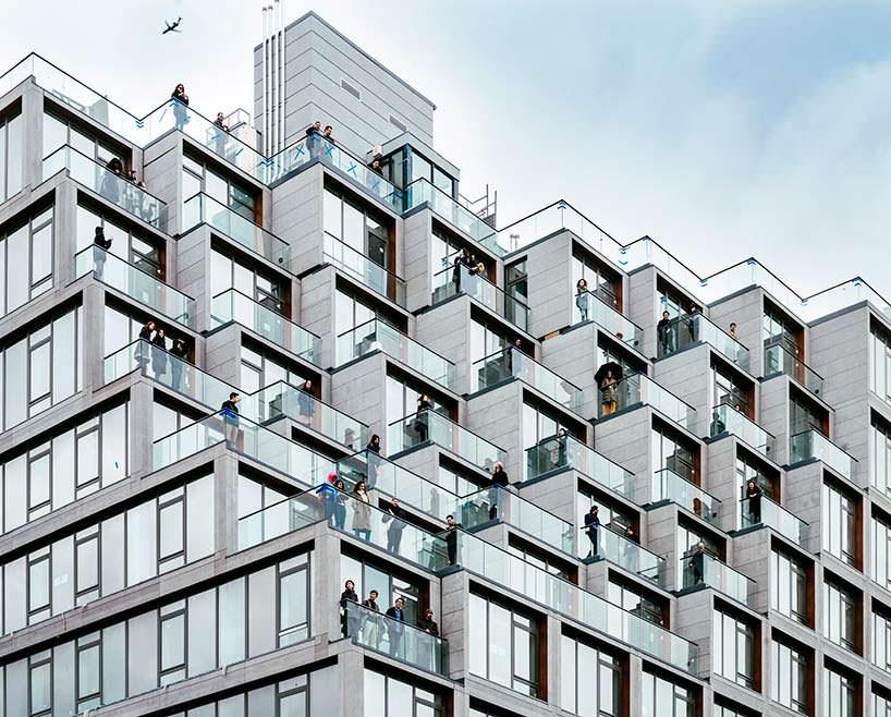 Пиксельный фасад здания 251 1st в Бруклине, Нью-Йорк