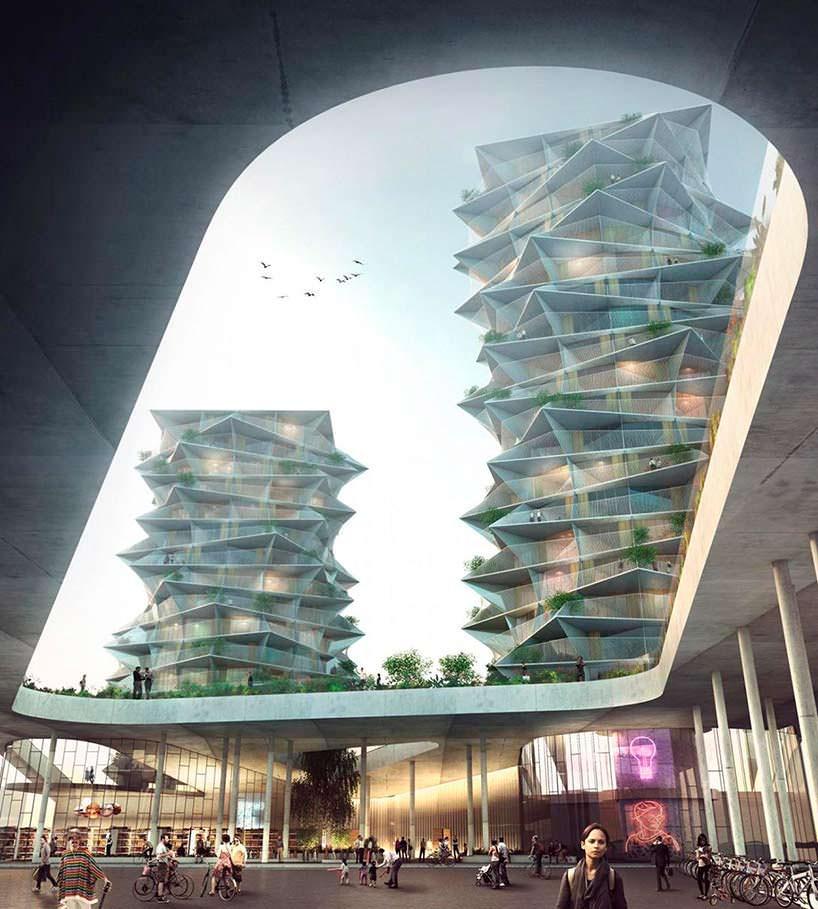 Жилые башни Cactus Towers в Копенгагене. Проект BIG