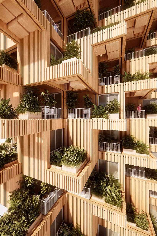 Деревянная башня с зеленым фасадом. Проект Penda Architects