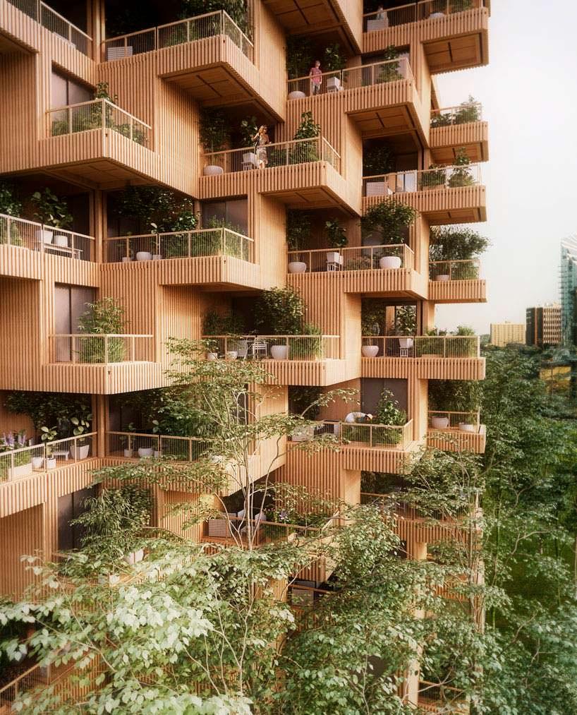 Деревянная башня с садами на балконах от Penda + Timber
