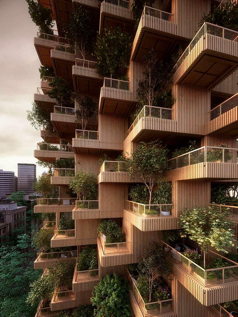 Мини-сады на фасаде деревянной башни от Penda + Timber