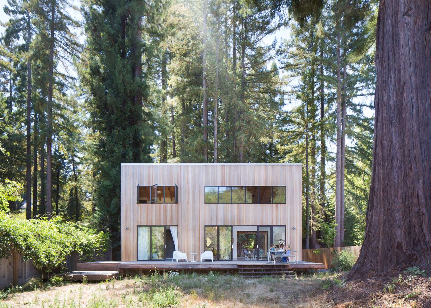 Идеальный дом посреди красных деревьев на окраине леса