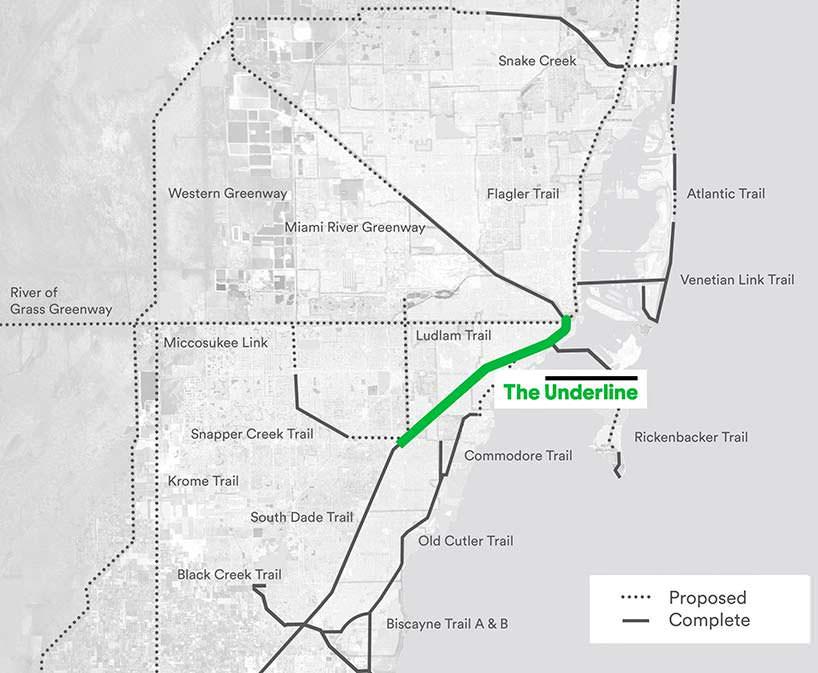 Линейный парк The Underline на карте Майами
