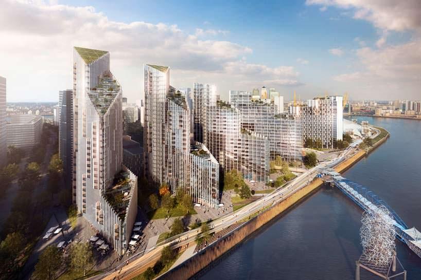Комплекс небоскребов на берегу Темзы в Лондоне от SOM