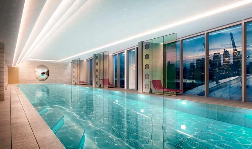 Бассейн для жильцов башен Upper Riverside в Лондоне