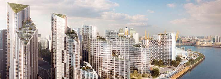 Комплекс башен Upper Riverside на берегу Темзы в Лондоне