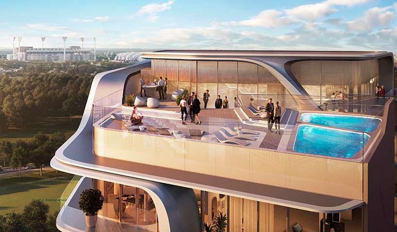 Скай-лаундж на крыше башни Mayfair от Zaha Hadid Architects