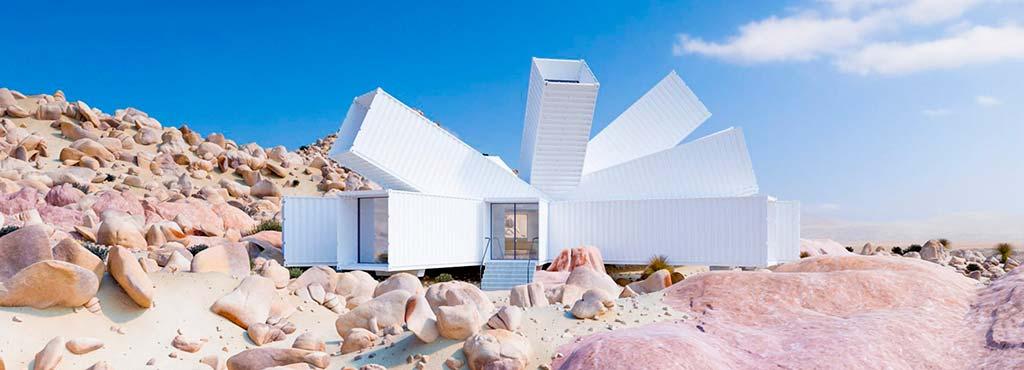 Белый дом из морских контейнеров. Проект Whitaker Studio