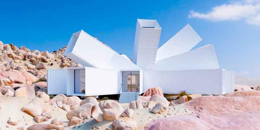 Белый дом из морских контейнеров от Whitaker Studio | фото