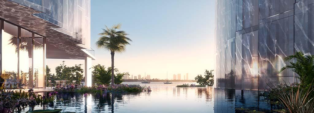 Панорамный бассейн с видом на залив Бискейн в Майами