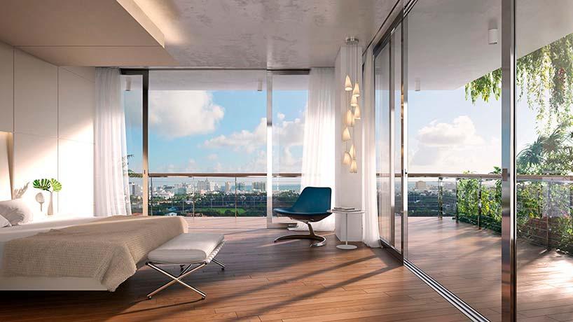 Панорамная спальня с балконом в ЖК Monad Terrace в Майами