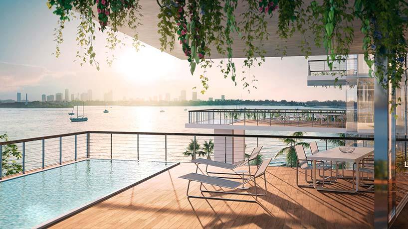 Квартира с бассейном и видом на океан в Майами
