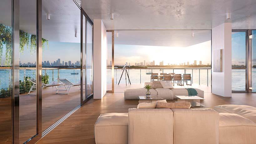 Панорамный вид на залив Бисквейн из квартиры в ЖК Monad Terrace