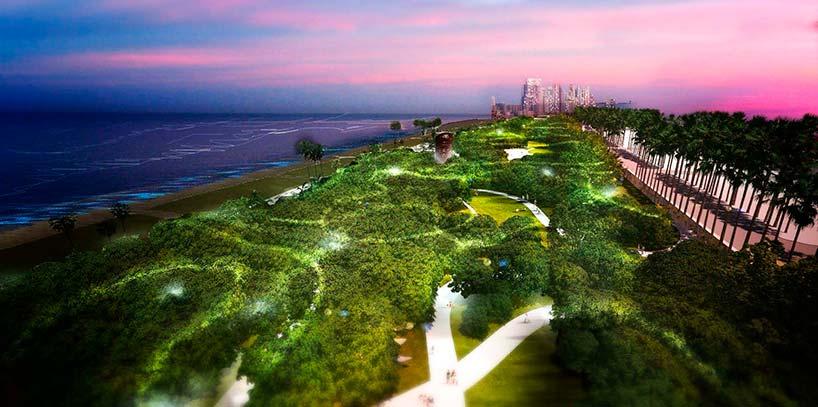Общественный парк на берегу Атлантического океана