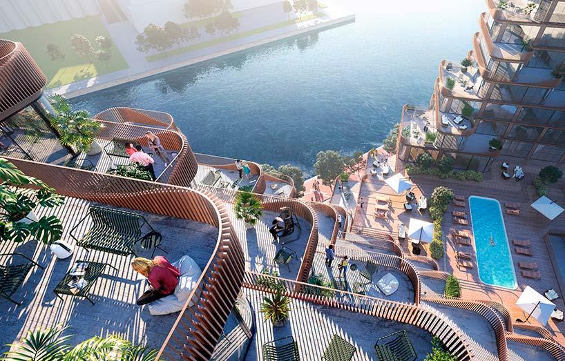 Балконы квартир в ЖК Waves на берегу озера в Торонто от 3XN