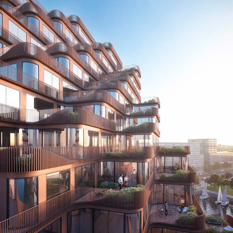 Фасад с террасами квартир в заднии Waves от 3XN в Торонто