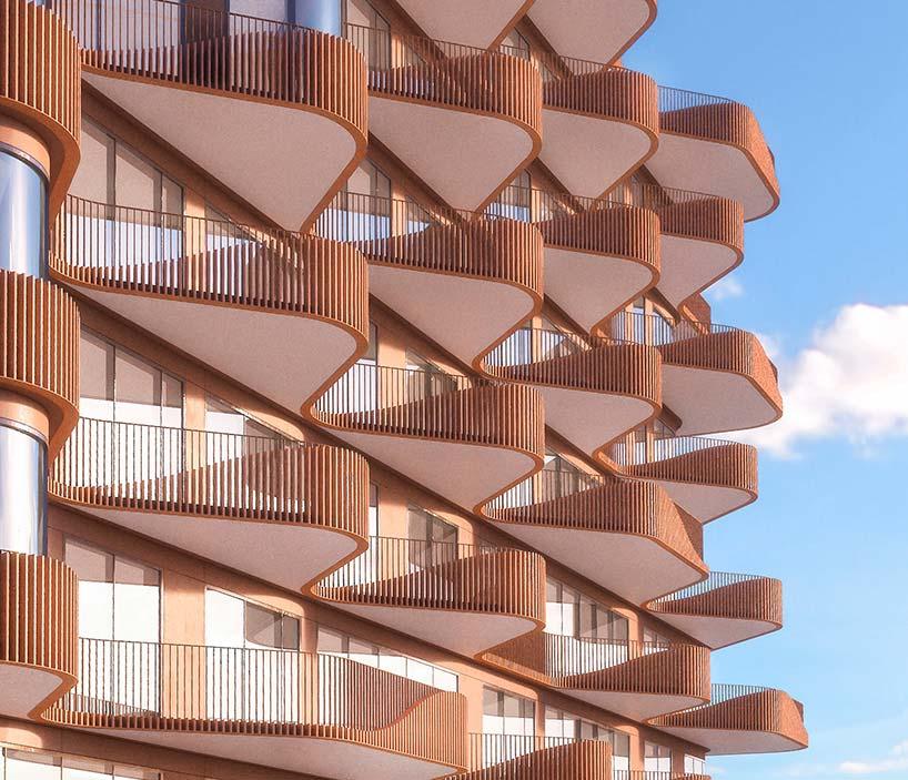 Волнистый фасад здания Waves на берегу озера Онтарио от 3XN