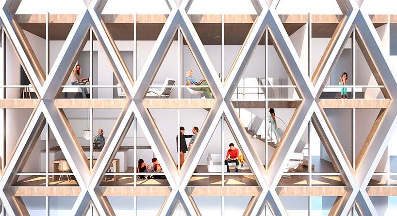 Сотовая структура деревянного небоскреба от Perkins + Will