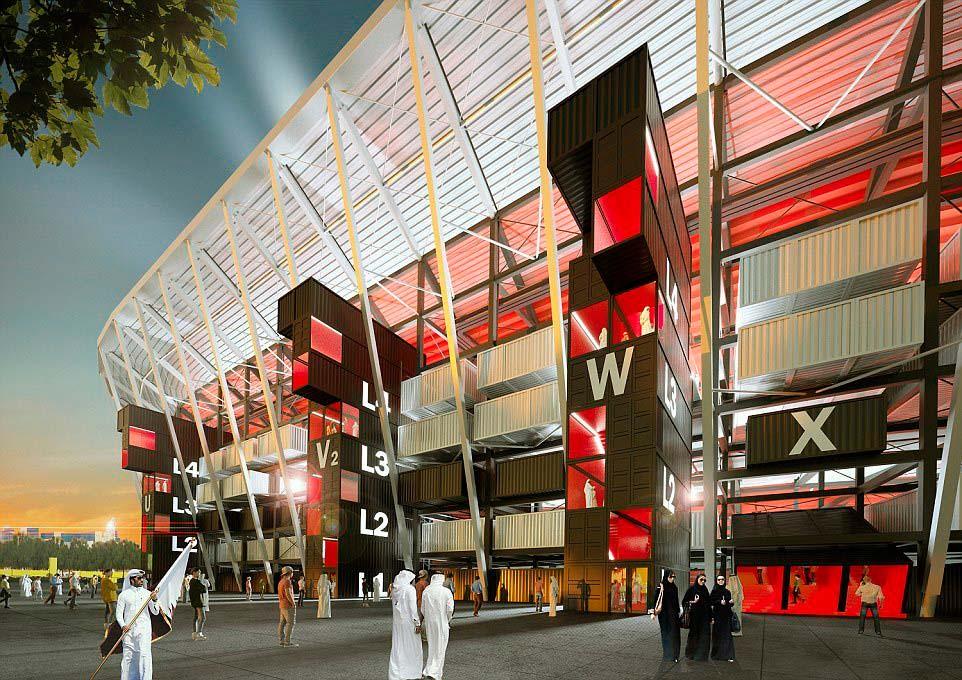 Разборный стадион из контейнеров на 40 000 болельщиков