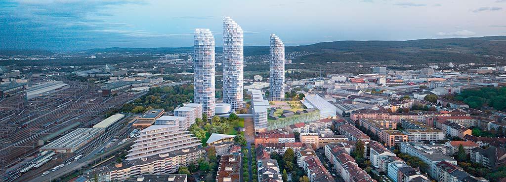 Три башни в бывшей промзоне Базеля от Herzog & De Meuron