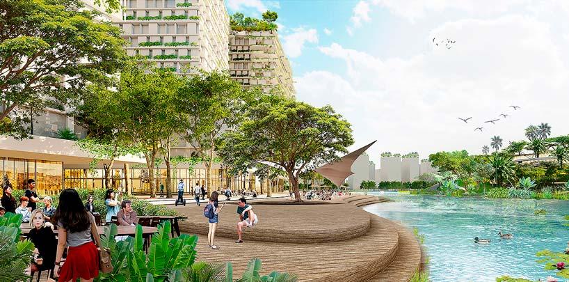 Деловой кластер JLD с садами и прудами в Сингапуре от KCAP