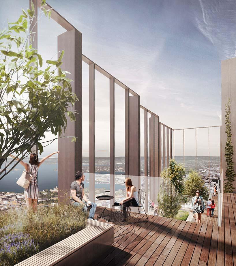 Терраса на крыше небоскреба от Reiulf Ramstad Architects