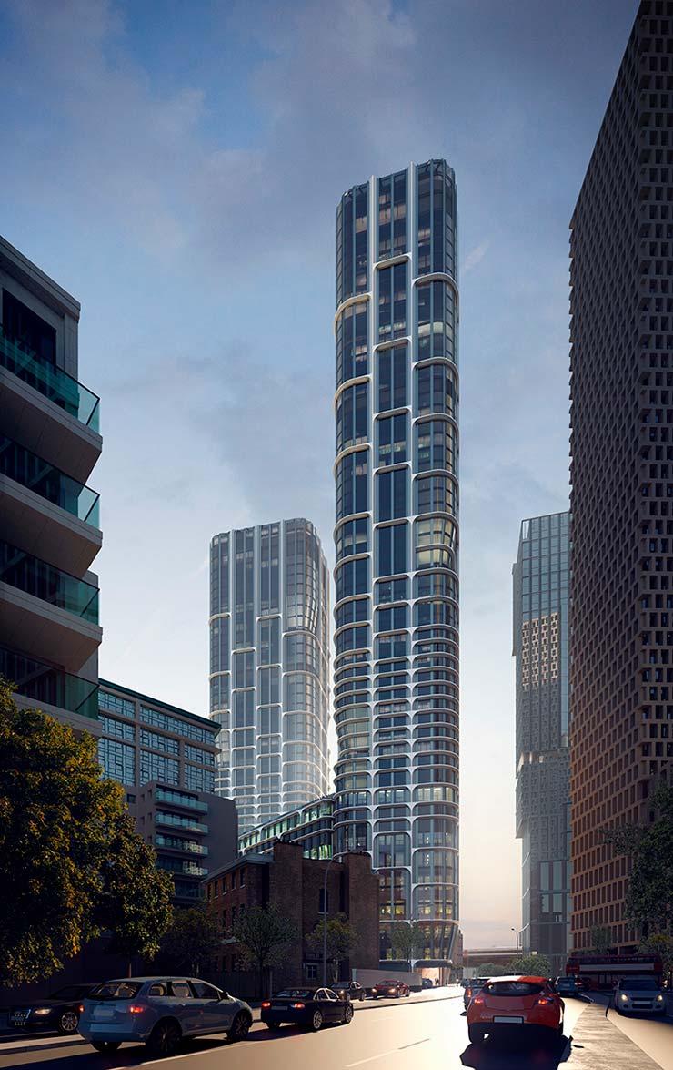 Новые башни Лондона Vauxhall Cross Island от ZHA