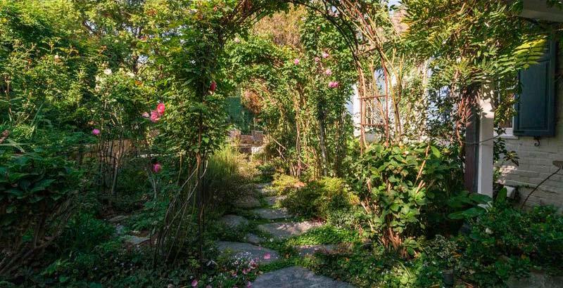 Тропинка сквозь пышную растительность у дома