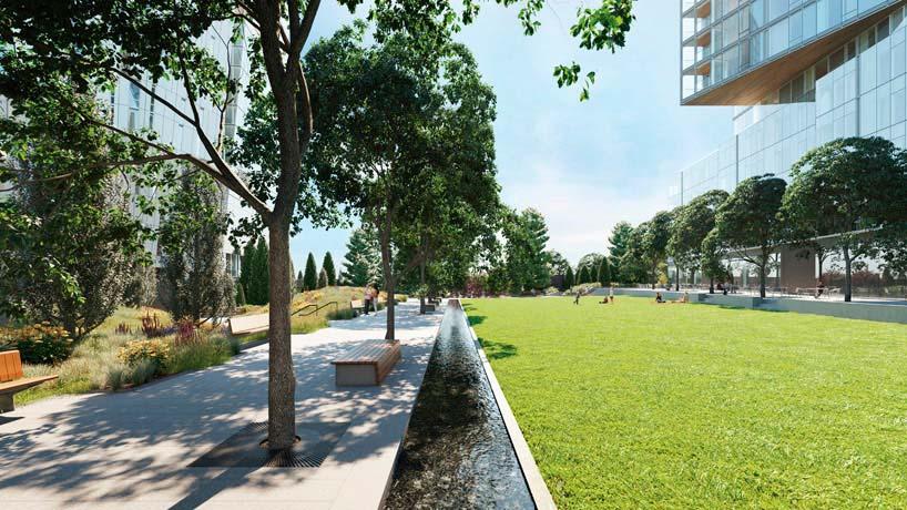 Общественный парк квартала Waterline Square в Нью-Йорке