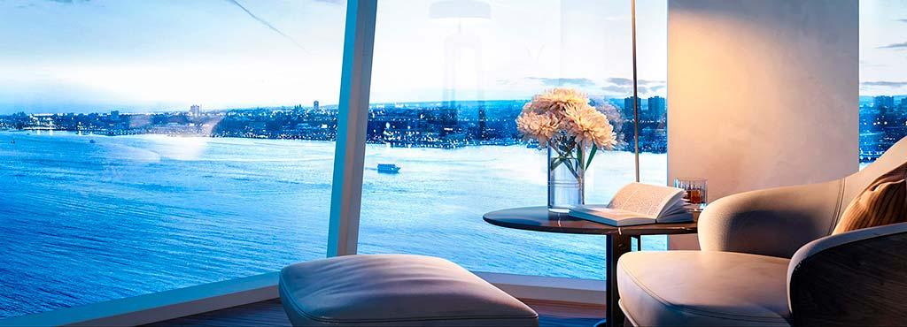 Квартира в небоскрёбе Waterline Square с видом на реку Гудзон
