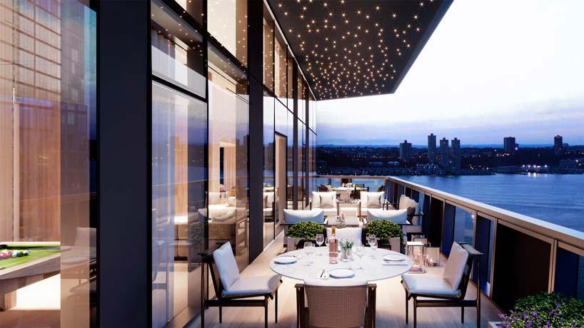 Ресторан башни Waterline Square с видом на Гудзон