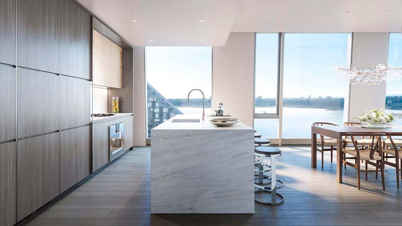Гранитный остров на кухне квартиры в небоскрёбе от Groves & Co
