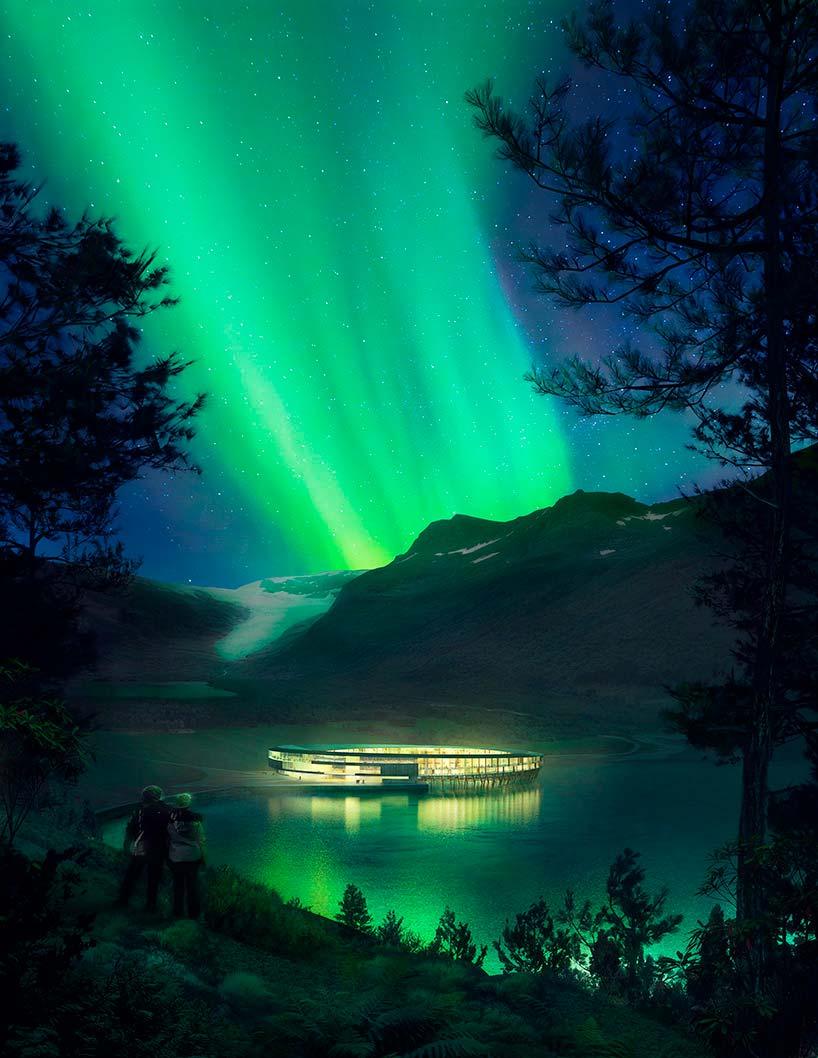Северное сияние над отелем Svart в Норвегии